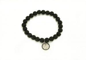 Crystal Dreams Jewelry Lava Stone Helmet Charm Bracelet in Silver